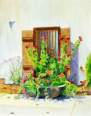 Painting - Flower Tub by Karen Fleschler