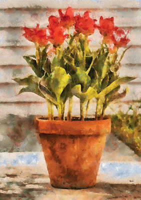 Flower - Tulip - A Pot Of Tulips II Print by Mike Savad