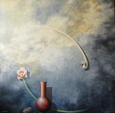 Painting - Flower, Vase and Bird 1 by Adriaan Brolsma