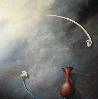 Painting - Flower, Vase and Bird 2 by Adriaan Brolsma