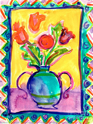 Painting - Flower Vase by Jessie Abrams Age Thirteen