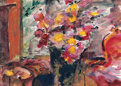 Flower Vase On A Table 1922  Art Print by Lovis Corinth