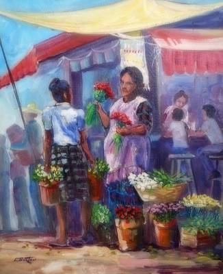 Lynn Burton Wall Art - Painting - Flower Vendor by Lynn Burton