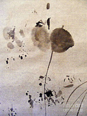Lines And Dot Painting - Flower With Leaf by Nancy Kane Chapman