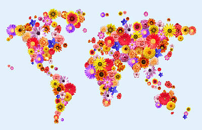 Dahlia Wall Art - Digital Art - Flower World Map by Michael Tompsett