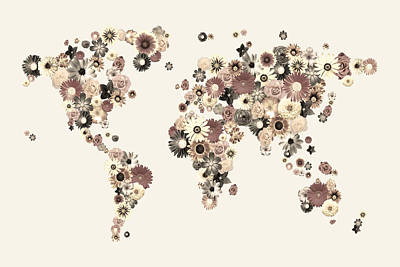 Flower World Map Sepia Print by Michael Tompsett