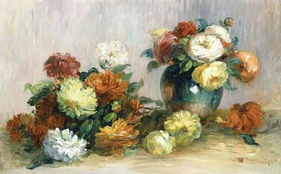Wreath Painting - Flower Wreaths by Pierre Auguste Renoir