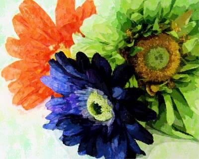 Mixed Media - Flower X Three by Florene Welebny