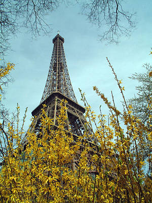 Flowered Eiffel Tower Art Print by Charles  Ridgway