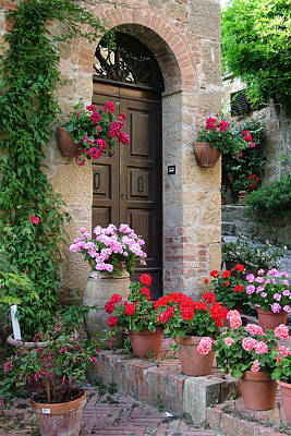 Photograph - Flowered Montechiello Door by Donna Corless