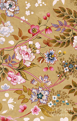 Tapestry - Textile - Flowered Textile Design by English School
