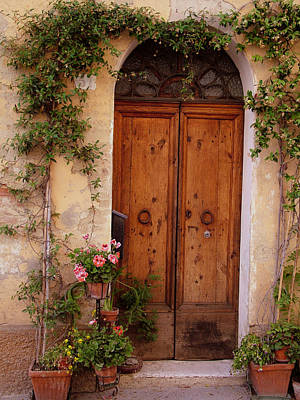 Photograph - Flowered Tuscan Door by Donna Corless