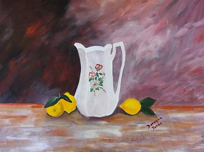 Pitcher With Flowers Painting - Flowered White Pitcher by Dorayne Levin Jones
