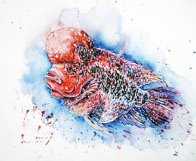 Painting - Flowerhorn by Zaira Dzhaubaeva