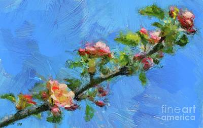 Painting - Flowering Apple Branch by Dragica Micki Fortuna