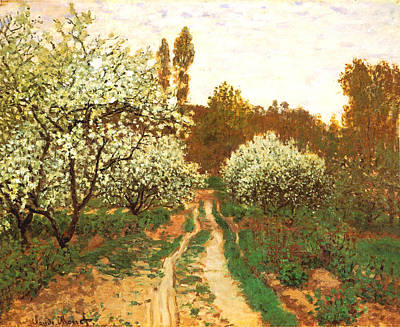 Photograph - Flowering Apple Trees by Claude Monet
