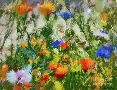 Dandelion Digital Art - Flowering Meadow With Marigold, Cornflower And Dandelion by Dragica Micki Fortuna