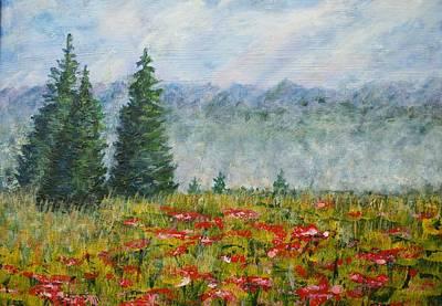 Painting - Flowering Mountain Meadow by David Frankel