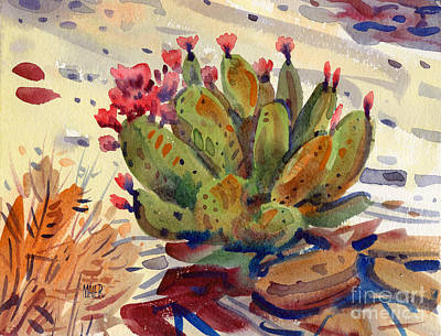Prickly Pear Painting - Flowering Opuntia by Donald Maier