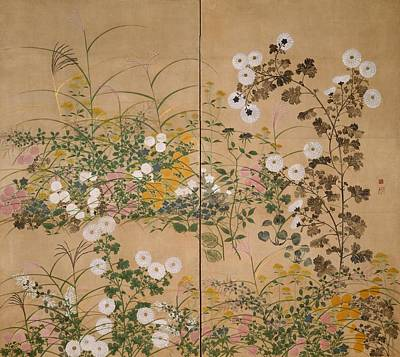 Painting - Flowering Plants In Autumn by Ogata Korin