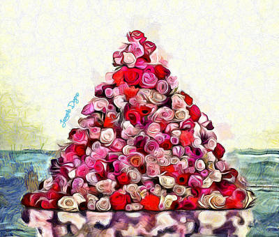 Red And Black Digital Art - Flowering Pyramid by Leonardo Digenio