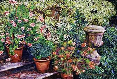 Flowering Stairway Pots Original by David Lloyd Glover