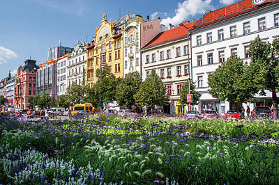 Print featuring the photograph Flowering Wenceslas Square In Prague by Jenny Rainbow