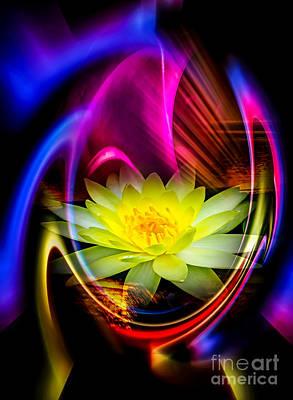 Artdeco Painting - Flowermagic 14  Water Lily by Walter Zettl