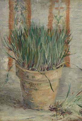 Painting - Flowerpot With Garlic Chives Paris   January  February 1887 Vincent Van Gogh 1853  1890 by Artistic Panda