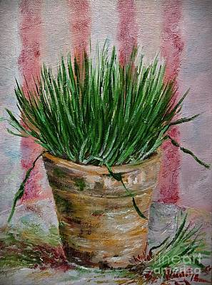 Painting - Flowerpot With Wheat by AmaS Art
