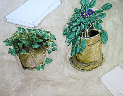 Painting - Flowerpots And Notebooks by Clarence Major
