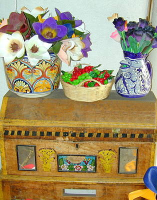 Photograph - Flowers And Antique Chest by Joseph R Luciano