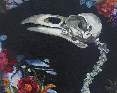 Painting - Flowers And Bird Skeleton by Elise Procter