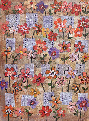 Mixed Media - Flowers And Boxes With Dots by Janyce Boynton