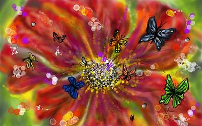 Digital Art - Flowers And Butterflies by Darren Cannell