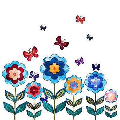 Painting - Flowers And Butterflies by Gabriella Weninger - David