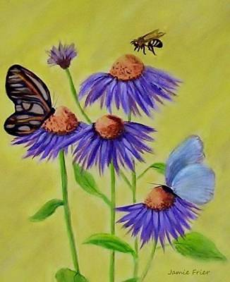 Painting - Flowers And Butterflies by Jamie Frier