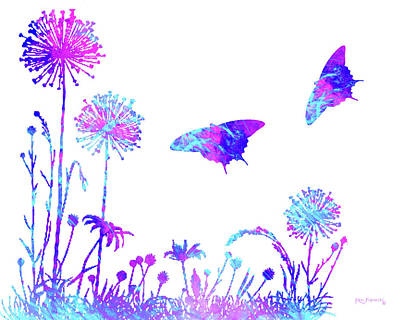 Flowers And Butterflies Art Print