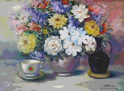 Flowers And Coffee Pot Art Print