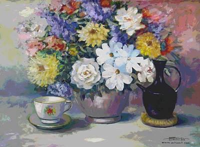 Flowers And Coffee Pot Art Print