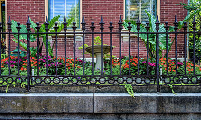Photograph - Flowers And Fence Soulard Mo_dsc0217_16 by Greg Kluempers
