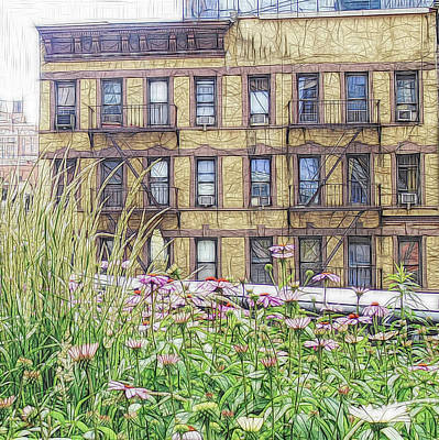 Digital Art - Flowers And Fire Escapes by Susan Lafleur