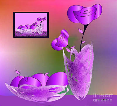 Digital Art - Flowers And Fruit 2 by Iris Gelbart