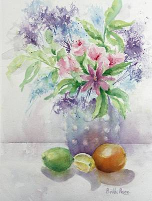 Flowers And Fruit Art Print by Bobbi Price
