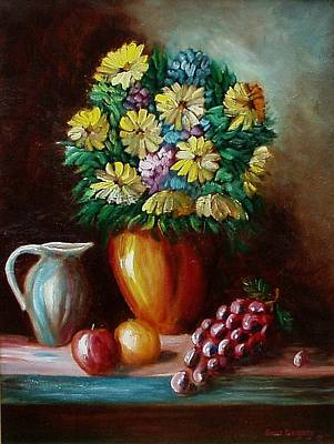Painting - Flowers And Fruit by Gene Gregory