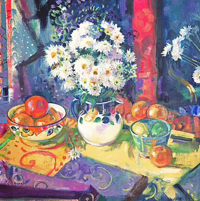 Lime Painting - Flowers And Fruit In A Green Bowl by Peter Graham