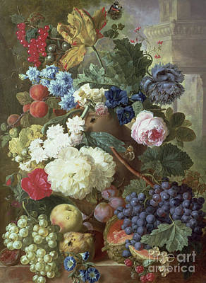 Bouquets Of Pink Flowers Green Blue Painting - Flowers And Fruit by Jan Van Os