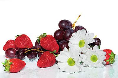 Purple Grapes Digital Art - Flowers And Fruit by larisa Fedotova