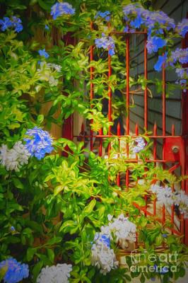Katharine Hepburn - Flowers and Gate - NOLA by Kathleen K Parker