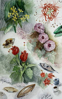 Flowers And Lace Art Print by Karen Boudreaux